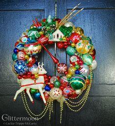 Reindeer Run Wreath ©Glittermoon Vintage Christmas 2017