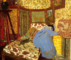 I love Vuillard because he uses fabric patterns as an  integral part of his paintings and prints. His mother was a seamstress.
