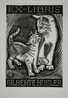 Ex Libris Gilberte Husler. Bookplate, book, illustration, stamp