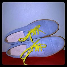 Brogues Cool suede brogues by Pertini. Size 38. Made in Spain. Capped toe with elegant brogue border. Yellow contrasting soles. Fluorescent shoelaces. Light as a feather. AS IS. Pertini Shoes Flats & Loafers