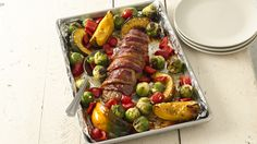Bacon-Wrapped Pork Tenderloin with Harvest Vegetables(did this one, with broccoli, peppers, potatoes)
