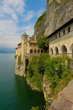 Hermitage of Santa Caterina del Sasso (Varese), Lake Maggiore, Lombardy, Italy