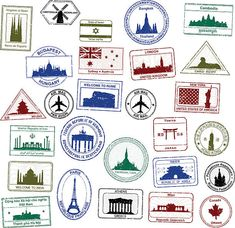 Selection of detailed passport stamps.