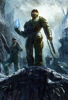 An awesome art piece based on the missions in Halo: Combat Evolved. I really love this pic. It captures the heroic and adventurous feeling felt when playing the classic game! Master Chief And Cortana, Halo Master Chief, Halo Game, Halo 3, Video Game Art, Video Games, Pc Games, Odst Halo, John 117