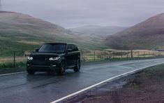 Download wallpapers Land Rover, Range Rover Sport, 2017, black luxury SUV, tuning, UK, Avant Garde Wheels