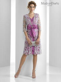 Formal White Lace Coat over Violet Shift Dress