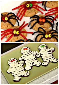 Learn how to make these easy Mummy & Spider cookies with your kids! They're perfect for Halloween and serve as really cute party favors! // #Halloween #Cookies #Kids #Mummies