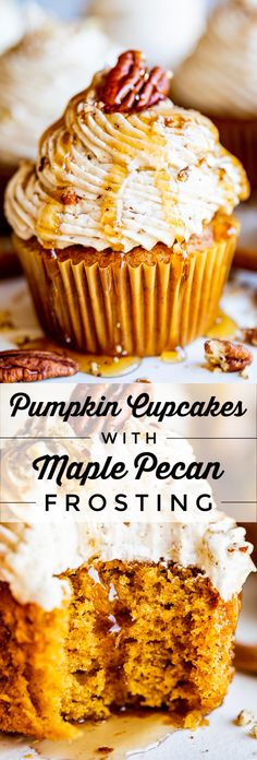 Pumpkin Cupcakes with Maple Pecan Frosting from The Food Charlatan. These Pumpkin Cupcakes are made extra moist and flavorful thanks to the addition of browned butter! Top them off with a Maple Pecan Buttercream Frosting and you have autumn's new favorite Pumpkin Cupcakes, Pumpkin Dessert, Pumpkin Cheesecake, Pecan Pie Cupcakes, Spice Cupcakes, Spice Cake, Cheesecake Bars, Maple Frosting, Buttercream Frosting