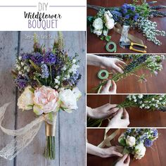 Make this beautiful wildflower bouquet for your wedding! Can you believe these are faux flowers?! #weddingbouquets Designer: Kate Said Yes
