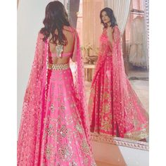 Magento pink mulberry silk paper mirror work wedding lehenga choli
