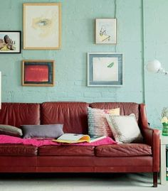 Seafoam Green Brick Wall w/ red couch