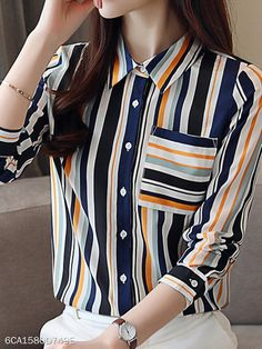 Autumn Spring Polyester Women Turn Down Collar Striped Long Sleeve Blouses Work Wear Office, Indian Groom Wear, Cheap Blouses, Blouse Styles, Womens Fashion, Fashion Fall, Fashion Shoes, Simple Dresses, Tunic Tops