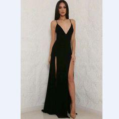 Custom Made V-neck Black Long Maxi Dress Slit Side