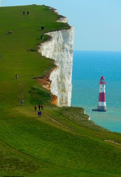 Beachy Head 1 (with Beachy Head Lighthouse, in the sea) - East Sussex, England, UK East Sussex, Places To Travel, Places To See, Places Around The World, Around The Worlds, Wonderful Places, Beautiful Places, Lighthouse Pictures, Voyage Europe