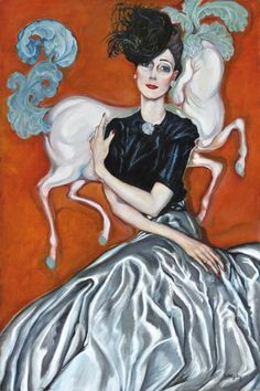 """""""Countess Vera Bissingen"""" by the excellent Hungarian artist Gyula Batthyány - 1930. Love his aesthetic and sensibility. That silvery fabric, the woman's long slender arms, the way she poses them, her cocked hat, the prancing white horse with a blue tail and that gorgeous red background, it's all so elegant and whimsical and brilliantly executed."""