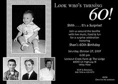 60th Birthday Invitation... Will need to remember this for mom's bday next year