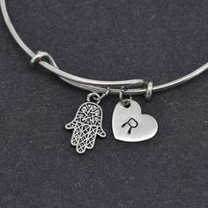 Hamsa Bangle, Sterling Silver Bangle, Hamsa Bracelet, Expandable Bangle, Personalized Bracelet, Charm Bangle, Initial Bracelet, Monogram by BangleLand on Etsy