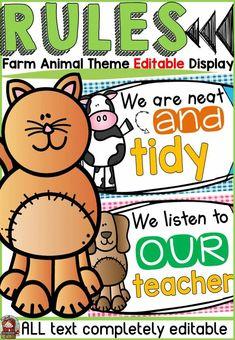 Farm Class Decor Editable Classroom Rules