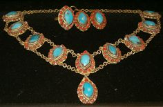 Vintage Primitive Necklace Clip Earrings & Adjustable Ring Turquoise and Coral Brass Rustic Handmade 1930's or Earlier (175.00 USD) by softlychic