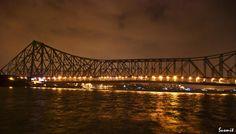 side view of  I90 bridge at night | ... Haldar > Photos > Kolkata - My City,My Love > Howrah Bridge At Night
