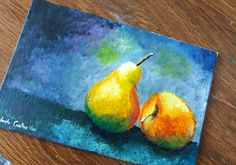 """Still life painting in acrylics on canvas panel - """"Fruits"""", from the Painting Challenge. See how to paint in acrylics a static nature."""