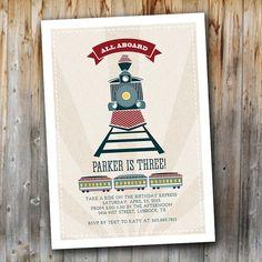 Vintage Train Birthday Invitation: All Aboard by madebykatydesigns