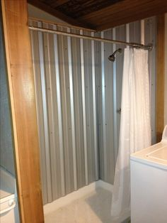 New Bathroom Shower Country Corrugated Metal 46 Ideas Cabin Bathrooms, Rustic Bathrooms, Laundry In Bathroom, Basement Bathroom, Small Bathroom, Bathroom Ideas, Bathroom Makeovers, Galvanized Shower, Galvanized Metal