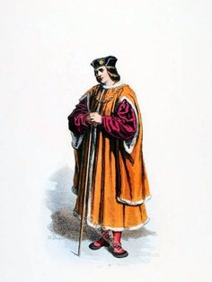 Parisian Bourgeois in medieval costume. French Renaissance clothing. 16th century dresses