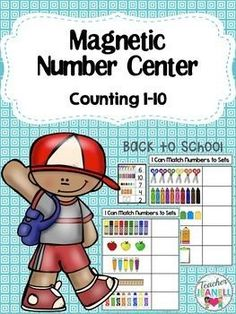 FREE - This engaging and independent math center is designed to help students practice counting 1-10. Students will count the school supplies and then place the correct magnetic number(s) in each box.You can use a cookie sheet or any magnetic surf