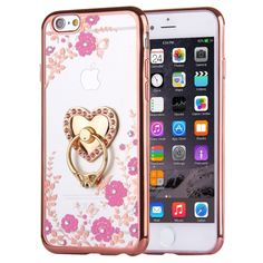 [$1.78] For iPhone 6 & 6s Magenta Flowers & Love Pattern Diamond Electroplated TPU Protective Case with Holder