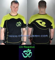 ElectrOM Top Black & Yellow Green Top with Contrast Stitching and a UV Reactive Print on the Front. Green Tops, Black Tops, Memorial Weekend, Weekend Sale, Future Fashion, Top P, Black N Yellow, Colorful Shirts, Stitching