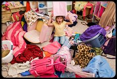 Girl in her disorganized and messy bedroom.-this will be Adelyn.