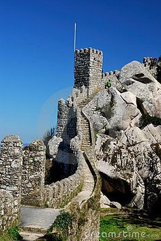 Stone steps, Castel Mouros perched on top of the Sintra Mountains, Lisbon, Portugal: