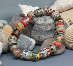SJC Lampwork 18 handmade dichroic & silver glass barrel & round beads ~SRA~ USA~ #SJCLampwork #Lampwork
