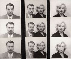 Nostalgia-Inducing Photo Booth Snaps of Famous People by Emily Temple. Marilyn Monroe and Joe Dimaggio's passport photos, Photos via. Vintage Versace, Vintage Dior, Vintage Vogue, Vintage Glamour, Vintage Beauty, Joe Dimaggio Marilyn Monroe, Fotos Marilyn Monroe, Vintage Photo Booths, Vintage Photos