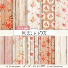 Wood digital paper: ROSES & WOOD with shabby backgrounds by Grepic
