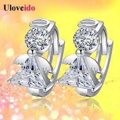 Find More Hoop Earrings Information about 30% Off Silver Plated Cubic Zirconia Jewelery Zircon Round Hoop Angel Earrings for Women Brinco Argola Bijouterie Uloveido DML51,High Quality clip nail,China clip on light fixture Suppliers, Cheap clip charm from Uloveido Official Store on Aliexpress.com