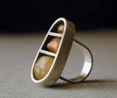 Oregon Beach Agates and Sterling Silver Ring
