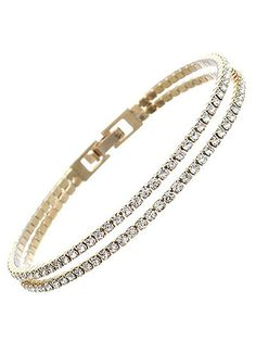 Double Row Rhinestone Gold Bracelet – JaeBee Jewelry