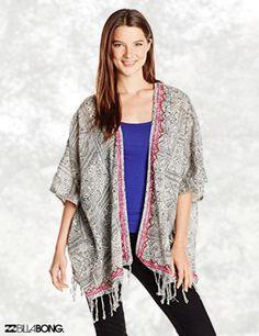Billabong Juniors Wandering Wavez Short Sleeve Woven Sweater