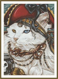 Pirate cat cross stitch pattern - modern counted cross stitch - Pirate cat #1 - Licensed Natalie Ewert by UnconventionalX on Etsy