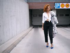 JAVS: BLUE SHOES Blue shoes and marble jacket