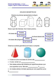 Atividades com Sólidos Geométricos Letters And Numbers, Teacher, Activities, Math, School, Ps, Geometric Fashion, Area And Perimeter, Geometry Activities