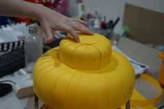 Picture of Attaching the BUMP Piece Lego Costume, Lego Head, Stationary Store, Costume Works, Head Mask, Yellow Paper, Cool Store, Pumpkin Carving, Bump