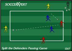 Soccer Drill Diagram: Split the Defenders Passing Game Soccer Passing Drills, Soccer Drills For Kids, Football Drills, Soccer Practice, Soccer Skills, Soccer Tips, Soccer Games, Soccer Stuff, Hockey Drills