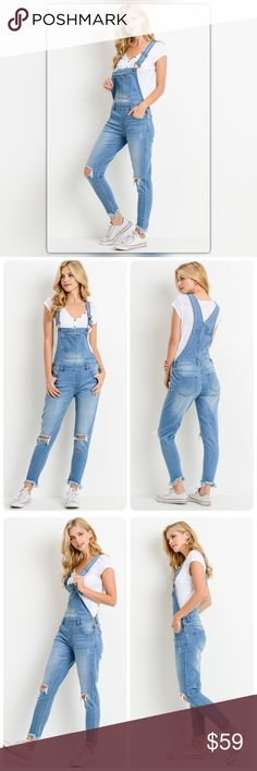 Medium Wash Distressed Overalls Overalls for a grown up! These distressed medium wash overalls are fitted and ankle length. Pair them with a simple tee and you are out the door. The NEW Boutique Jeans Overalls