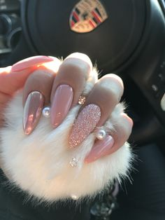 Swarovski crystals  Stiletto nails  Baby pink nails  Long nails  Chrome nails  Mermaid nails