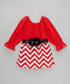 Look what I found on #zulily! Red Zigzag Long-Sleeve Dress & Sash - Infant, Toddler & Girls #zulilyfinds
