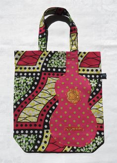 Ukulele tote bag with pink polka-dot uke applique on Dutch wax block print fabric by Ivy Arch