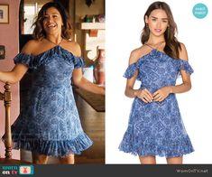 Jane's blue ruffled dress on Jane the Virgin.  Outfit Details: https://wornontv.net/68261/ #JanetheVirgin
